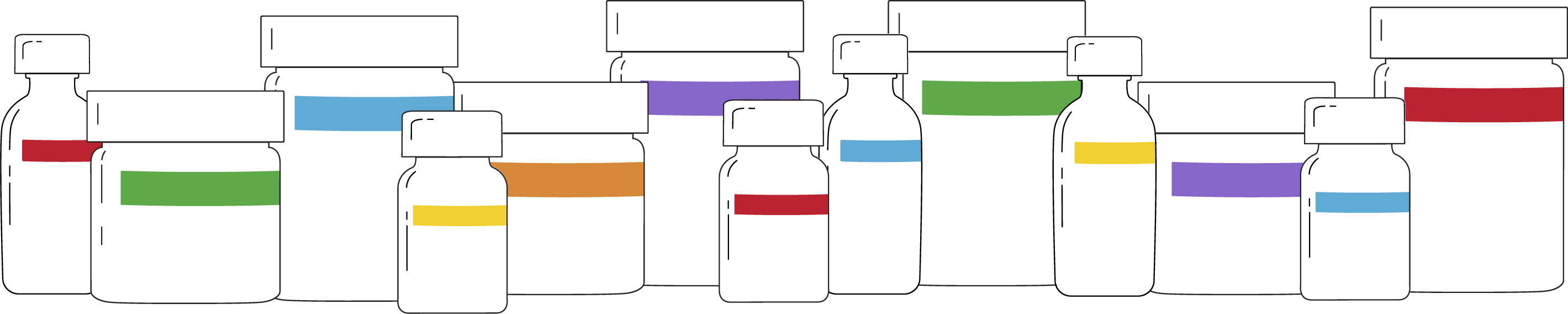 White illustrated cannabis jars with spectrum coloured labels on them